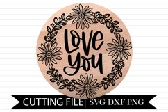 Love you - Wood Round - Hand Lettered SVG Product Image 1