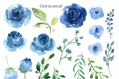 Blue Watercolor Roses Flowers Leaves Product Image 3