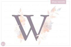 MONOGRAM Letter WElegant Floral Monogram - Flower initials Product Image 1