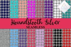 Silver Glitter Houndstooth Digital Paper Product Image 1