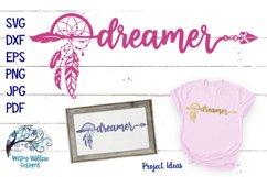 Dreamer SVG | Boho Feather Dream Catcher SVG Cut File Product Image 1