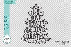 Joy Love Peace Believe Christmas svg dxf pdf cut template Product Image 2