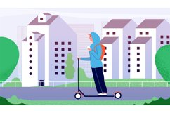 Guy riding kick scooter. Happy smiling man ride along city s Product Image 1
