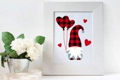 Gnome Valentine Buffalo plaid, love hearts, balloons svg. Product Image 3