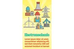Electromechanic concept banner, cartoon style Product Image 1