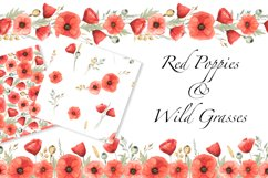 Red Poppies and Wild Grasses, Watercolor clip art, PNG, JPG Product Image 1