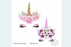 Pink and Purple Unicorn with Flowers PNG Product Image 1