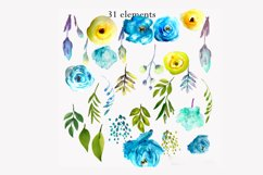 Watercolor flowers clipart design blue and yellow invite Product Image 4