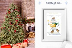 Christmas bull Watercolor Clipart Product Image 4
