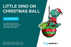 Little Dino on Christmas Ball Vector Illustration Product Image 1