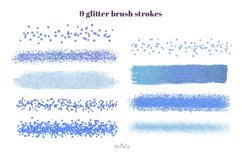 Indigo brush strokes clipart, blue watercolor PNG elements Product Image 3