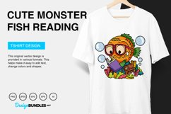 Cute Monster Fish Reading Vector Illustration Product Image 5