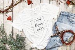 4 Image Valentines Day White T-Shirt Mockup Farmhouse Bundle Product Image 2