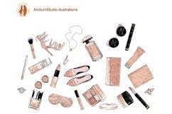 Cosmetics Set Clipart, Make up eps, fashion leopard makeup Product Image 2