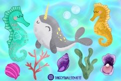 Glitter Mermaid & Friends Clipart Product Image 3