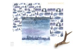 Watercolor Winter Forest Digital Papers Product Image 3