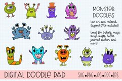 Doodle Monsters SVG Cut Files for Cricut and Silhouette Product Image 1