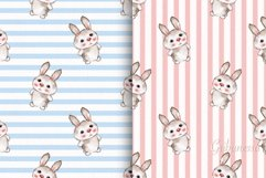 Cute rabbits. 2 seamless striped patterns with baby animals Product Image 1