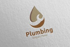 Plumbing Logo with Water and Fix Home Concept 42 Product Image 2