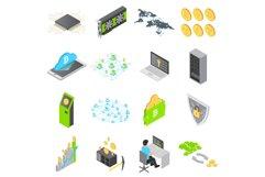 Blockchain technology icons set, isometric style Product Image 1