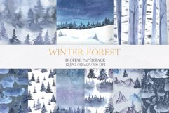 Watercolor Winter Forest Digital Papers Product Image 1