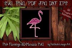 3D Mandala Pink Flamingo 4 Layers File Sublimation SVG Product Image 1