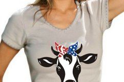 Heifer SVG, cow svg, farm svg, dairy cow svg, banana cow, 4th of july bandana, 4th of july cow face, animal faces svg, independence day cow Product Image 2