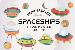 Spaceship Watercolor 11 Elements Space Planets Galaxy Product Image 1