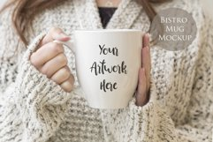 Bistro Mug Mockup - Woman holding mug Product Image 1