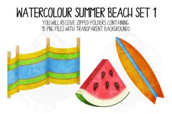 Watercolor Summer Beach Clip Art Set 1 Product Image 6