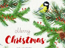Christmas Birds Tit. Watercolor Bouquets and Wreaths, Merry Product Image 2