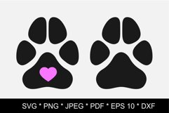 Dog paw SVG. Paw print SVG. Paw print love Product Image 1