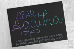 Dear Agatha - a single-line hairline pen & quill font duo! Product Image 1