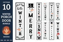 10 Porch door winter signs bundle, welcome signs, snowman Product Image 1