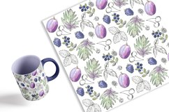 Elegant Berry Patterns. Watercolor and line art, JPG, PNG Product Image 2