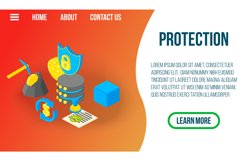 Protection concept banner, isometric style Product Image 1