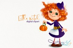Cute Halloween Little Witch clipart. Pumpkin, fall clipart. Product Image 2