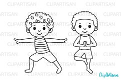 Yoga Clip Art, Yoga Poses Boys, Yoga Digital Stamps Product Image 2