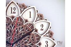 C08 - Laser Cut Wall Clock DXF, Mandala Clock, Wooden Clock Product Image 5