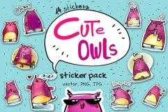 Cute Owls - sticker pack Product Image 1
