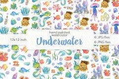 Watercolor Cute Mermaids. Seamless Patterns Product Image 1