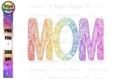 Zentangle Rainbow Mom PNG Sublimation Mandala Word Art Product Image 1