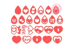 Valentine Love Earring Template |50 Templates Earring svg Product Image 3
