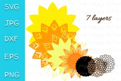 3D Layered Sunflower SVG. Mandala Cut file. 7 layers Product Image 2