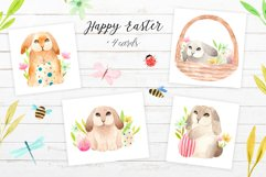 Spring Watercolor Easter Bunnies. Patterns and cliparts Product Image 5