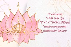 Lotus clipart Yoga meditation clip art Gold with watercolor Product Image 2