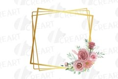 Watercolour blush flowers & green leaves bridal templates. Product Image 5