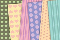 Pastel hearts digital paper, seamless heart backgrounds Product Image 3