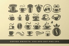 Coffee beans and cups silhouettes and icons bundle Product Image 1