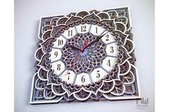 C11 - Wall Clock for Laser cut, Mandala Clock DXF pattern Product Image 5